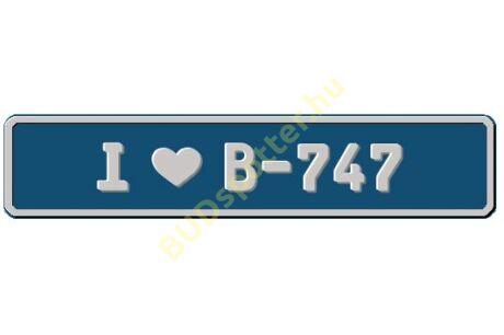 B-747 rendszámtábla